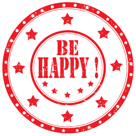 be happy: Grunge rubber stamp with text Be Happy,vector illustration