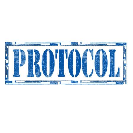 Grunge sello de goma con el Protocolo palabra, ilustración vectorial