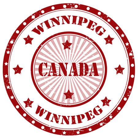winnipeg: Grunge rubber stamp with text Winnipeg-Canada,vector illustration
