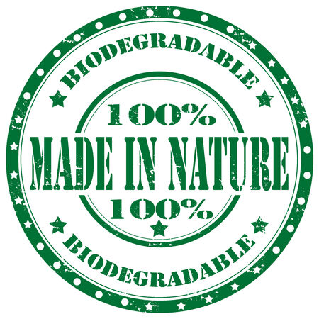 biodegradable: Grunge rubber stamp with text Made In Nature,vector illustration Illustration