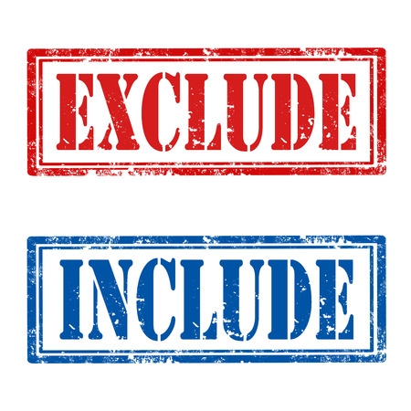 exclude: Set of grunge rubber stamps with text Exclude and Include,vector illustration Illustration
