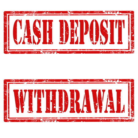 withdrawal: Set of grunge rubber stamps with text Cash Deposit and Withdrawal,vector illustration Illustration