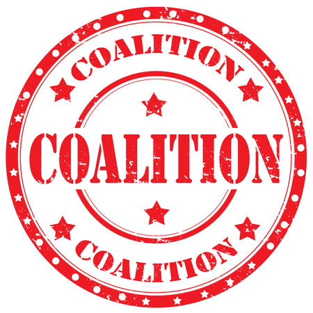 coalition: Grunge rubber stamp with text Coalition,vector illustration