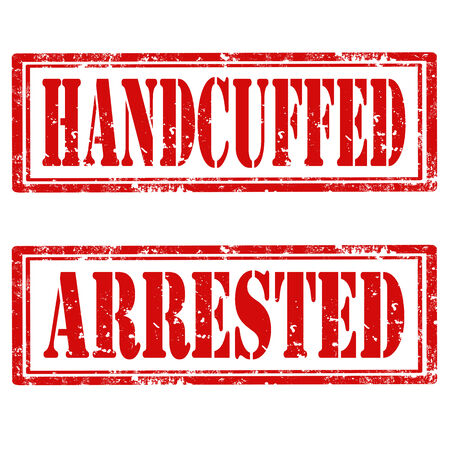 handcuffed: Set of grunge rubber stamps with text Handcuffed and Arrested,vector illustration