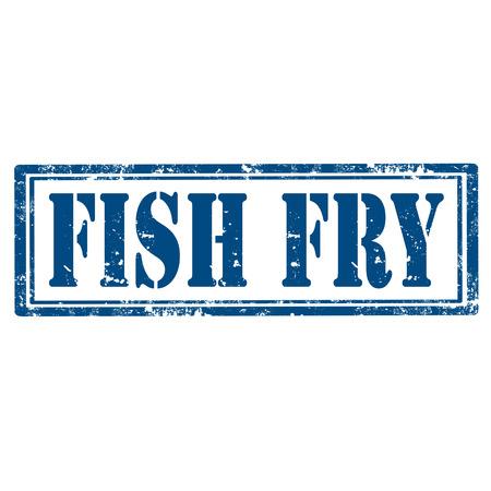 グランジ テキスト魚のフライ、ベクトル図ゴム印  イラスト・ベクター素材