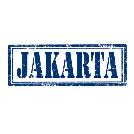 indonesia culture: Grunge rubber stamp with word Jakarta,vector illustration