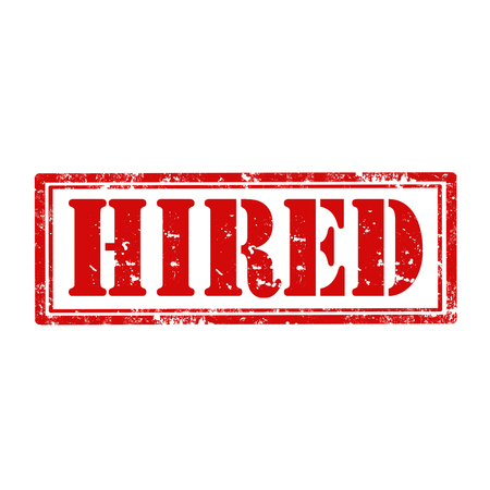 hired: Grunge rubber stamp with word Hired,vector illustration