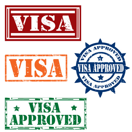 visa approved: Set of grunge rubber stamps with text Visa Approved,vector illustration