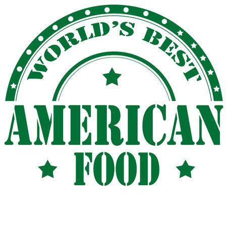 comida americana: Sello de goma con el texto American Food, ilustraci�n vectorial