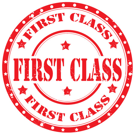 first class: Grunge rubber stamp with text First Class,vector illustration