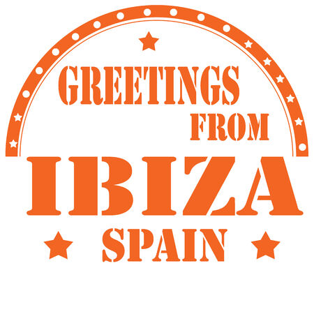 ibiza: Rubber stamp with text Greetings From Ibiza,vector illustration