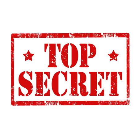 espionaje: Grunge sello de goma con el texto Top Secret, ilustraci�n vectorial