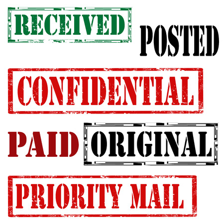 posted: Set of grunge rubber stamps with text Received,Confidential,Posted,Paid,Original and Priority Mail,vector illustration