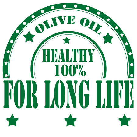 long life: Timbro di gomma con il testo Olive Oil-For Long Life, illustrazione vettoriale