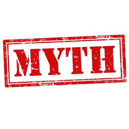 rubber stamp grunge avec du texte Mythe, illustration vectorielle