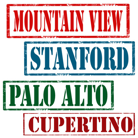 mountain view: Set of grunge rubber stamps with text Mountain View,Stanford,Palo Alto and Cupertino,vector illustration