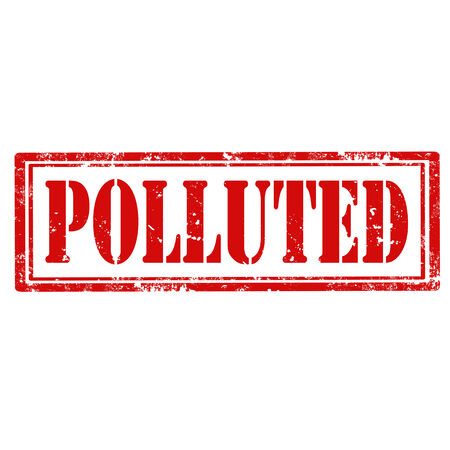 polluted: Grunge rubber stamp with text Polluted,vector illustration