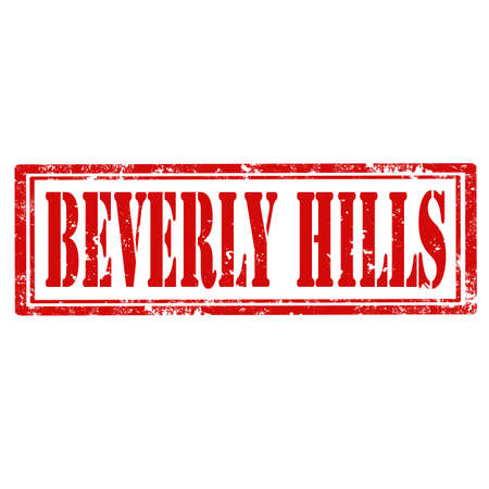 beverly hills: Grunge rubber stamp with text Beverly Hills,vector illustration