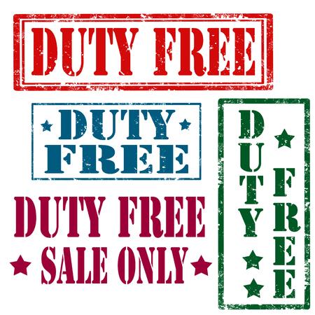 devoir: Jeu de timbres en caoutchouc grunge avec le texte Duty Free, illustration vectorielle Illustration