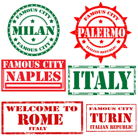 turin: Set of grunge rubber stamps with text Milan,Palermo,Rome,Turin,vector illustration Illustration