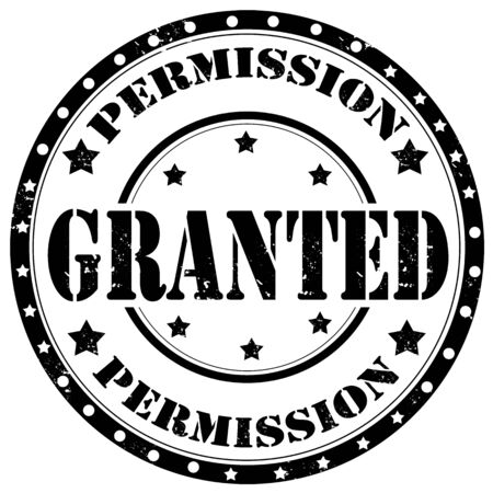 permission: Grunge rubber stamp with text Granted,vector illustration