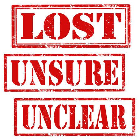 unsure: Set di timbri in gomma grunge con testo di Lost, Incerto e poco chiara, illustrazione vettoriale Vettoriali