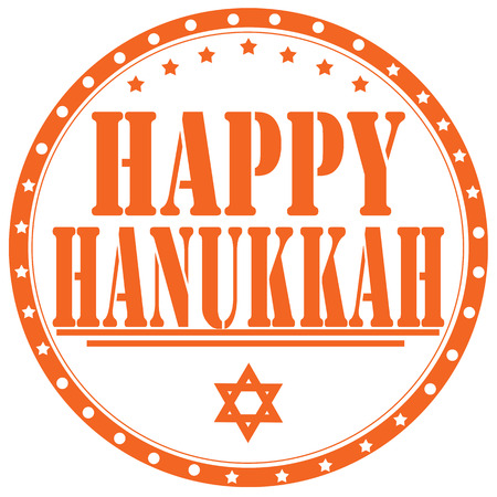 rabbi: Rubber stamp with text Happy Hanukkah,vector illustration