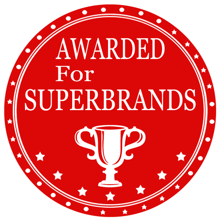 awarded: Label with text Awarded For Superbrands,vector illustration Illustration