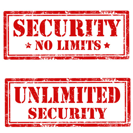 unlimited: Set of grunge rubber stamps with text Security-No Limit and Unlimited Security,vector illustration