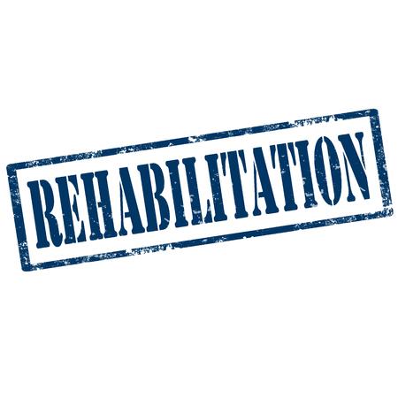 whitewash: Grunge rubber stamp with text Rehabilitation Illustration