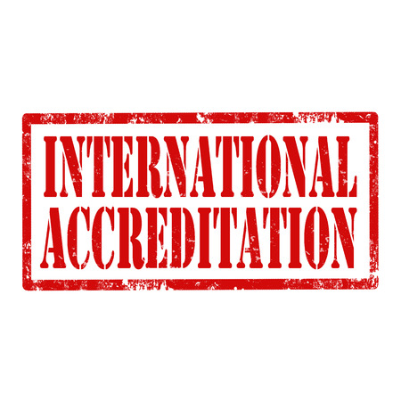 accreditation: Grunge rubber stamp with text International Accreditation,vector illustration