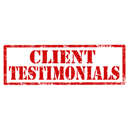testimonials: Grunge rubber stamp with text Client Testimonials