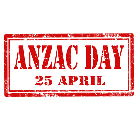 anzac: Grunge rubber stamp with text Anzac Day