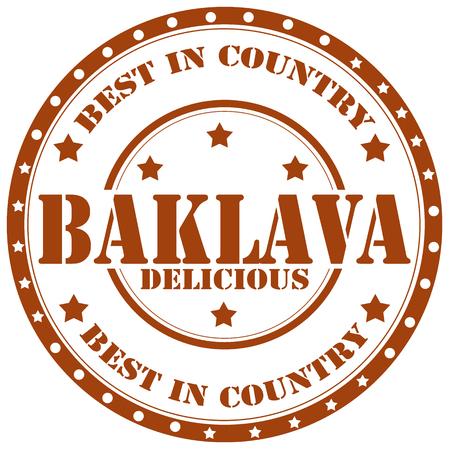 turkish dessert: Rubber stamp with text Baklava Illustration
