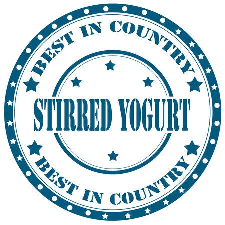 stirred: Rubber stamp with text Stirred Yogurt,vector illustration