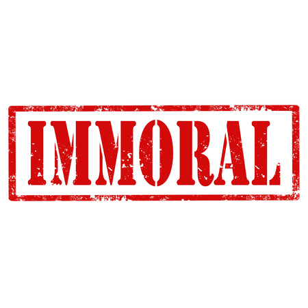 immoral: Grunge rubber stamp with text Immoral,vector illustration