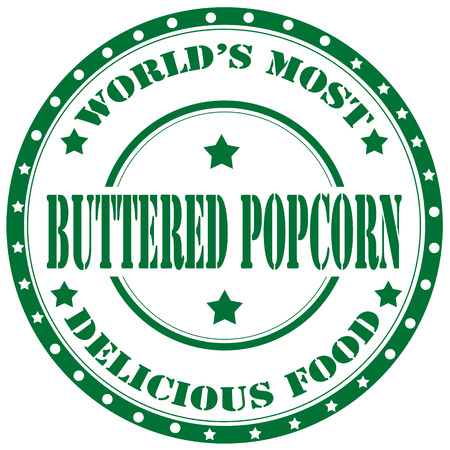 buttered: Rubber stamp with text Buttered Popcorn,vector illustration