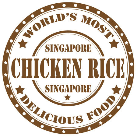 Rubber stamp with text Chicken Rice(national dish in Singapore),vector illustration Illustration