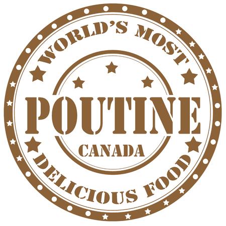 Rubber stamp with text Poutine(canadian dish),vector illustration Ilustração