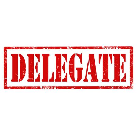 delegar: Grunge sello de goma con el Delegado de texto, ilustraci�n vectorial