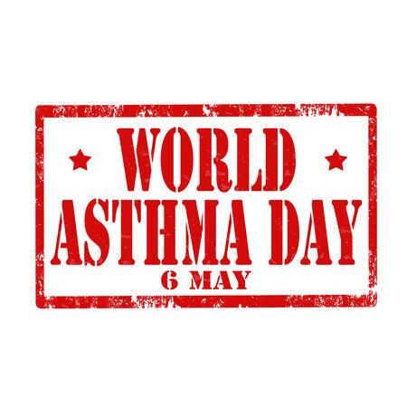 inhalacion: Grunge sello de goma con el texto D�a Mundial del Asma, ilustraci�n vectorial Vectores
