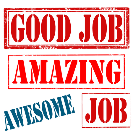good job: Set of grunge rubber stamps with text Good Job,Amazing,Job and Awesome,vector illustration Illustration