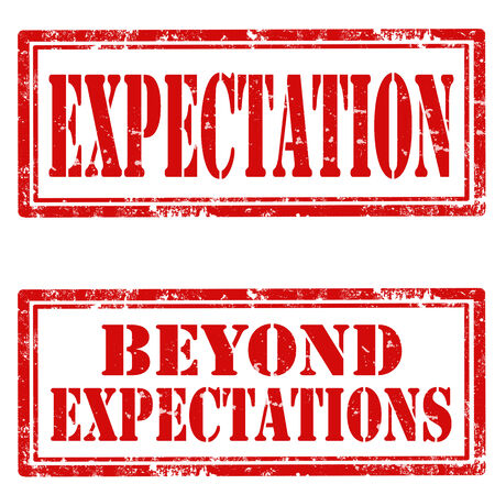 expectations: Set of grunge rubber stamps with text Expectation and Beyond Expectations,vector illustration