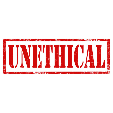unethical: Grunge rubber stamp with text Unethical,vector illustration Illustration