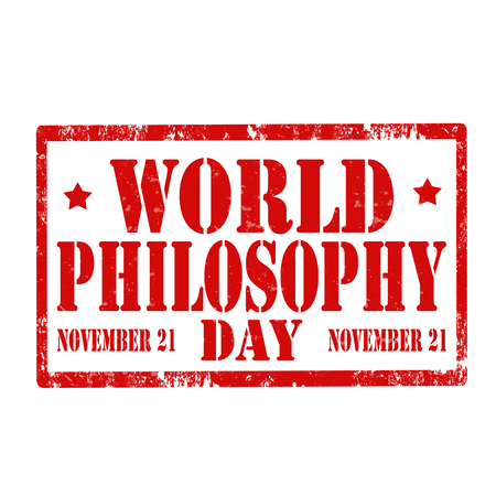 philosophy of logic: Grunge rubber stamp with text World Philosophy Day,vector illustration