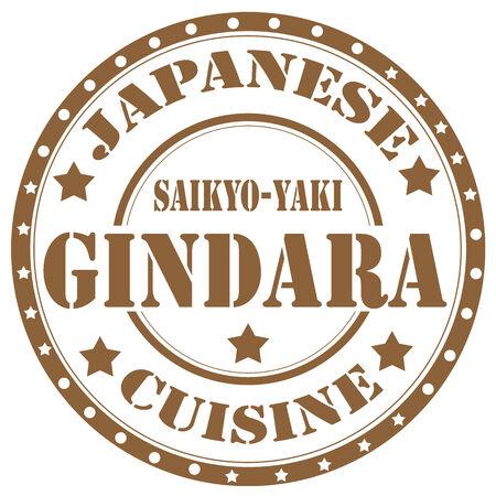 Rubber stamp with text Gindara Saikyo Yaki Broiled Miso-Marinated Black Cod ,vector illustration Vector