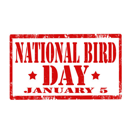 Grunge rubber stamp with text National Bird Day,vector illustration