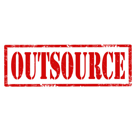 outsource: Grunge rubber stamp with text Outsource,vector illustration