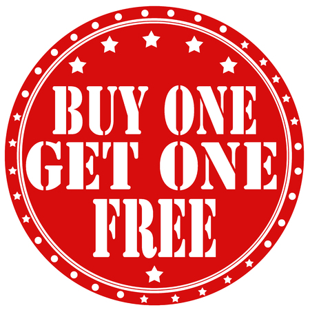 Red rubber label with text Buy One Get One Free,vector illustration