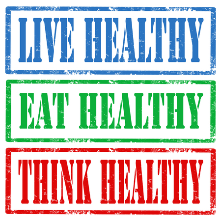 eating healthy: Set of grunge rubber stamps with text Live Healthy,Eat Healthy and Think Healthy,vector illustration Illustration